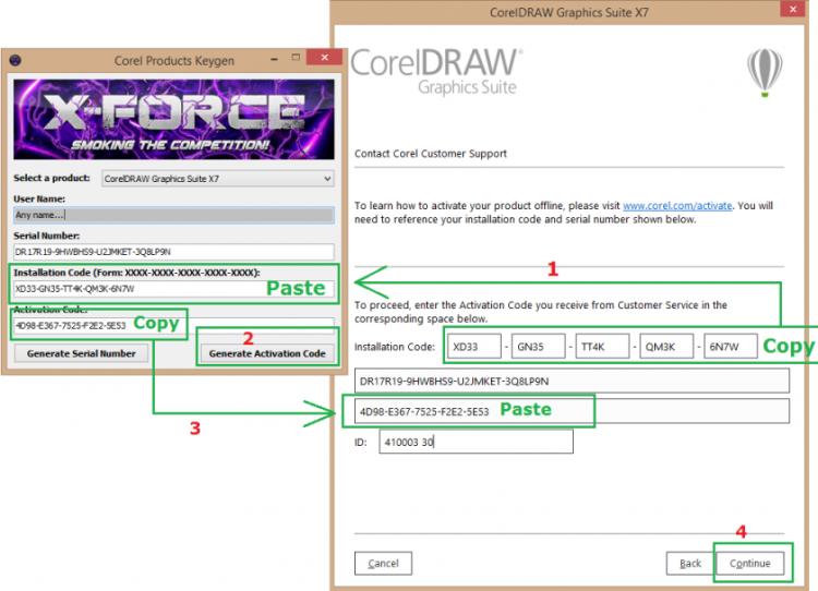 Copy Installation Code từ Corel