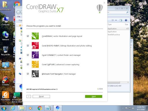 Tích vào mục cài đặt như Bitstream Font Navigator (font manager) và CorelDraw…. -> Next.