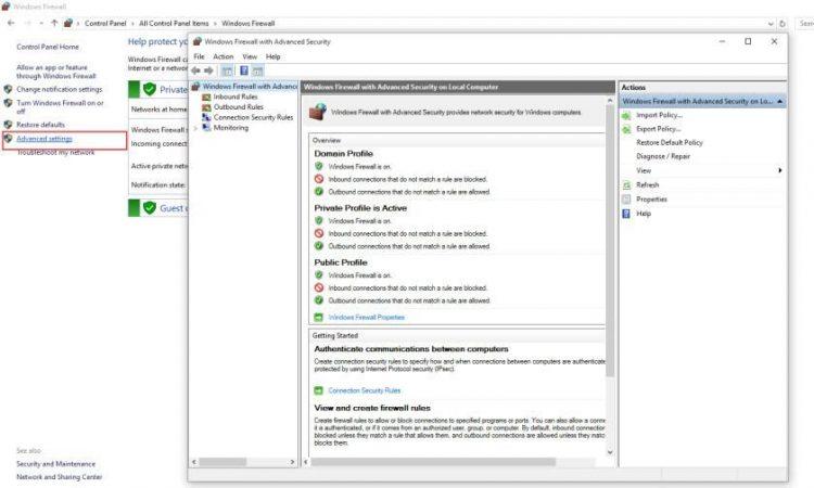 Truy cập Control Panel -> Windows Firewall -> Advanced setting
