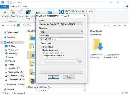 Format USB bằng HP USB Disk Storage Format Tool