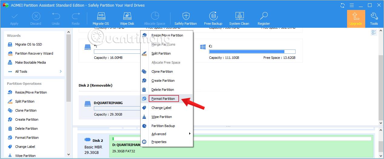 Sử dụng công cụ AOMEI Partition Assistant để sửa lỗi không format được usb